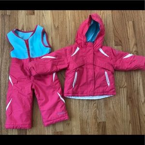 Columbia snow pants with bib and jacket.